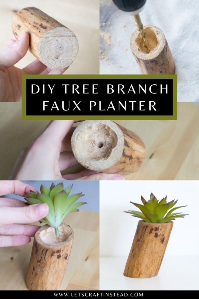 pinnable graphic about upcycling a tree branch to make a faux planter for a fake plant or an air plant