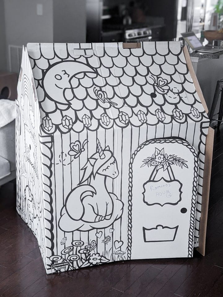 cardboard colorable playhouse