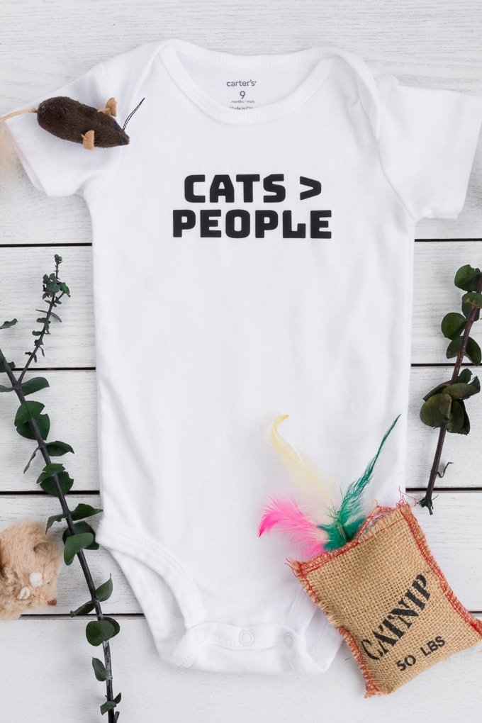 Cats are better than people baby bodysuit made using a Cricut Explore Air 2