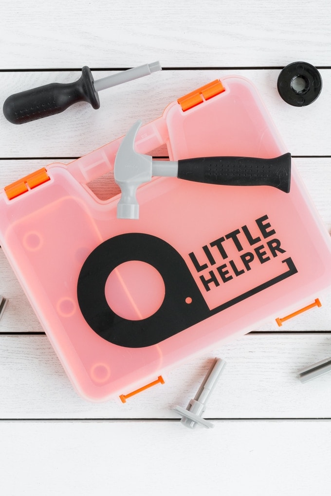 play toy set with a little helper vinyl decal made using a Cricut Explore Air 2