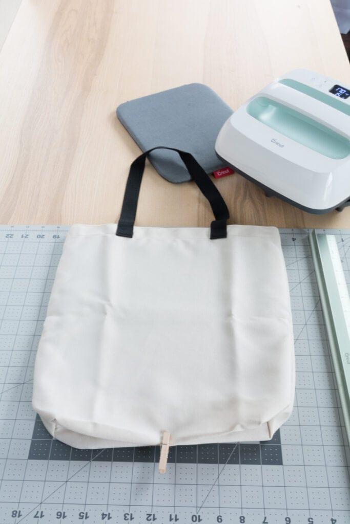 blank tote bag before pressing