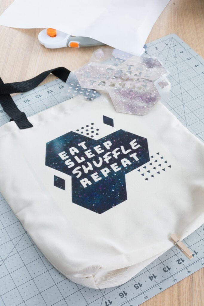 finished Infusible Ink tote bag