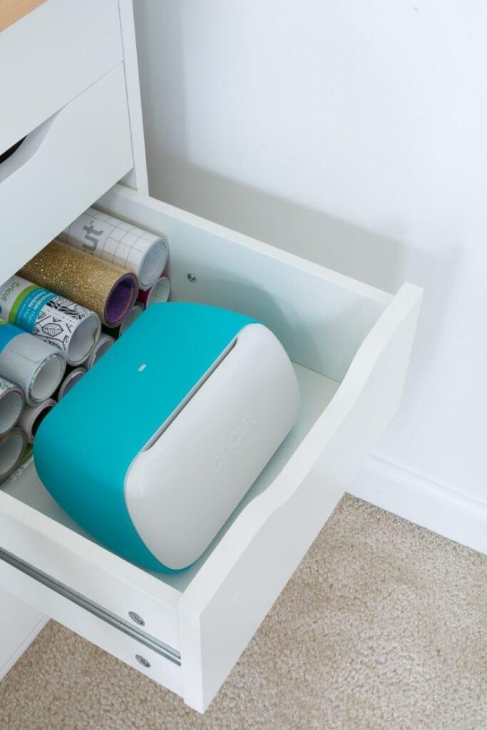 Cricut joy machine in a drawer