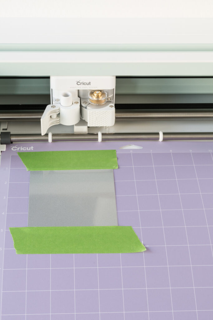 Aluminum taped to a purple Cricut mat