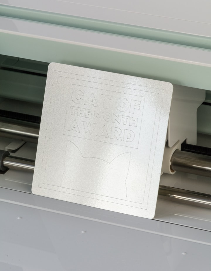 engraved aluminum on the Cricut Maker using the engraving tip