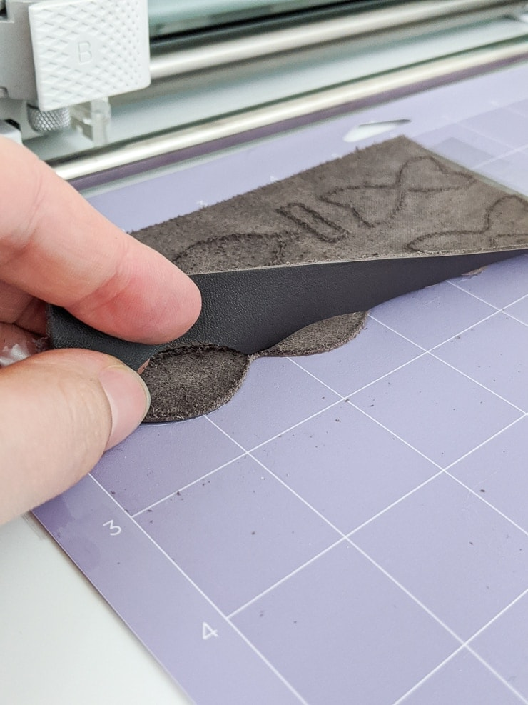 Cutting the hairbow pieces out of leather using the Cricut Maker