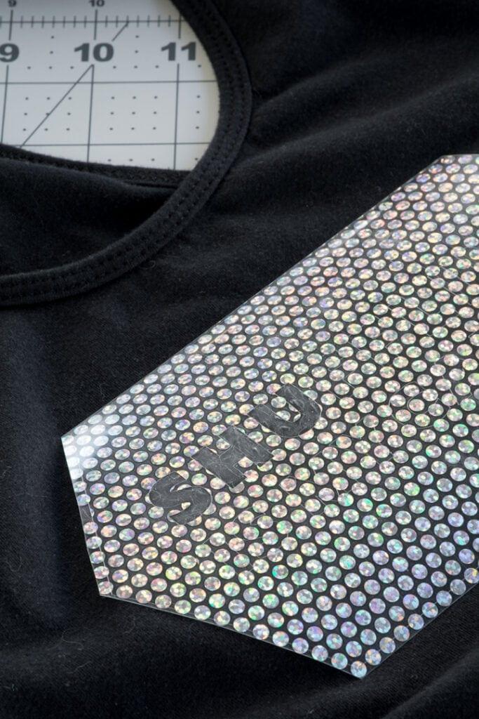 transferring Cricut Holographic Mosaic Iron On
