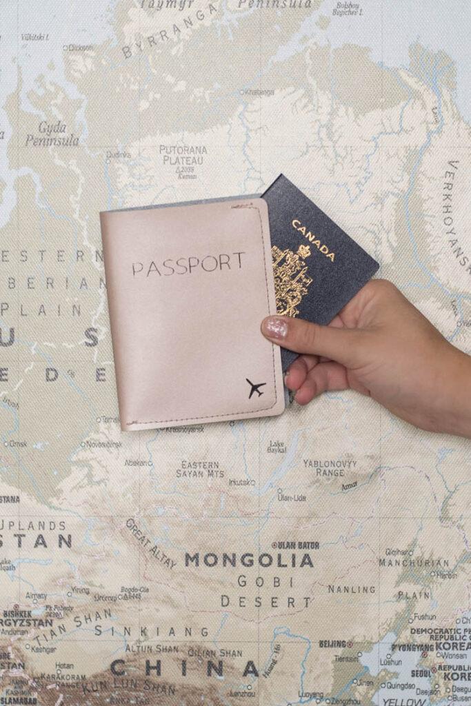 DIY metallic leather passport cover made using the Cricut