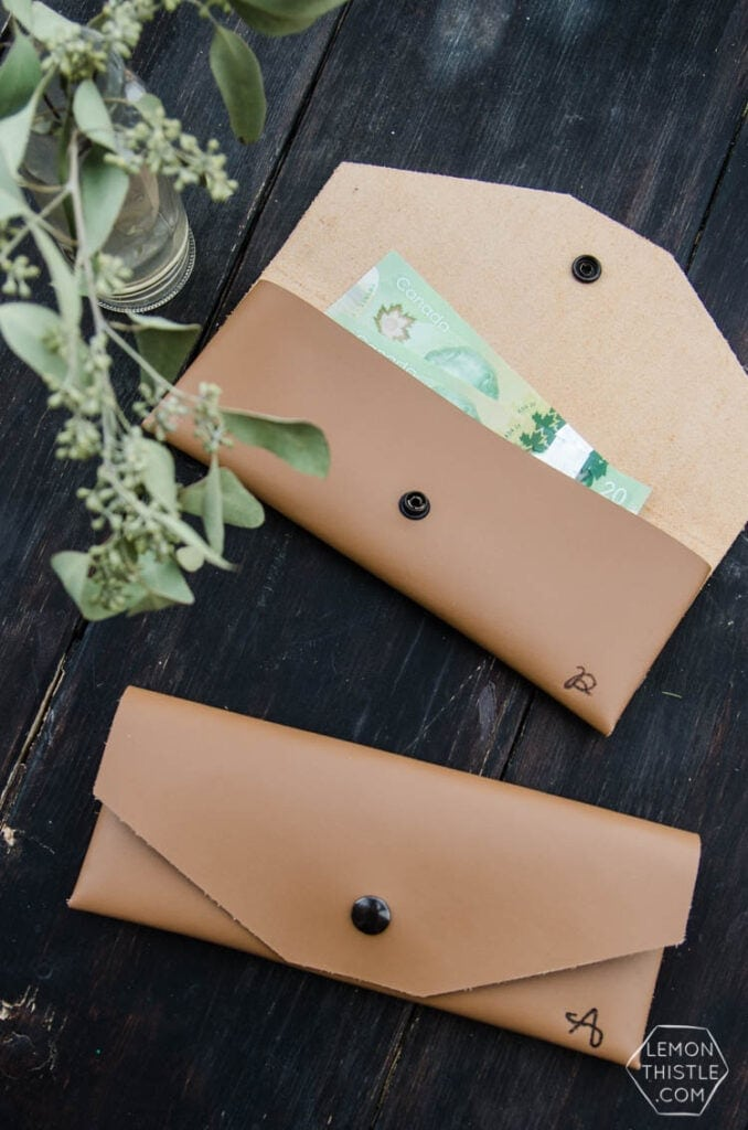 DIY leather pouch made using a Cricut machine