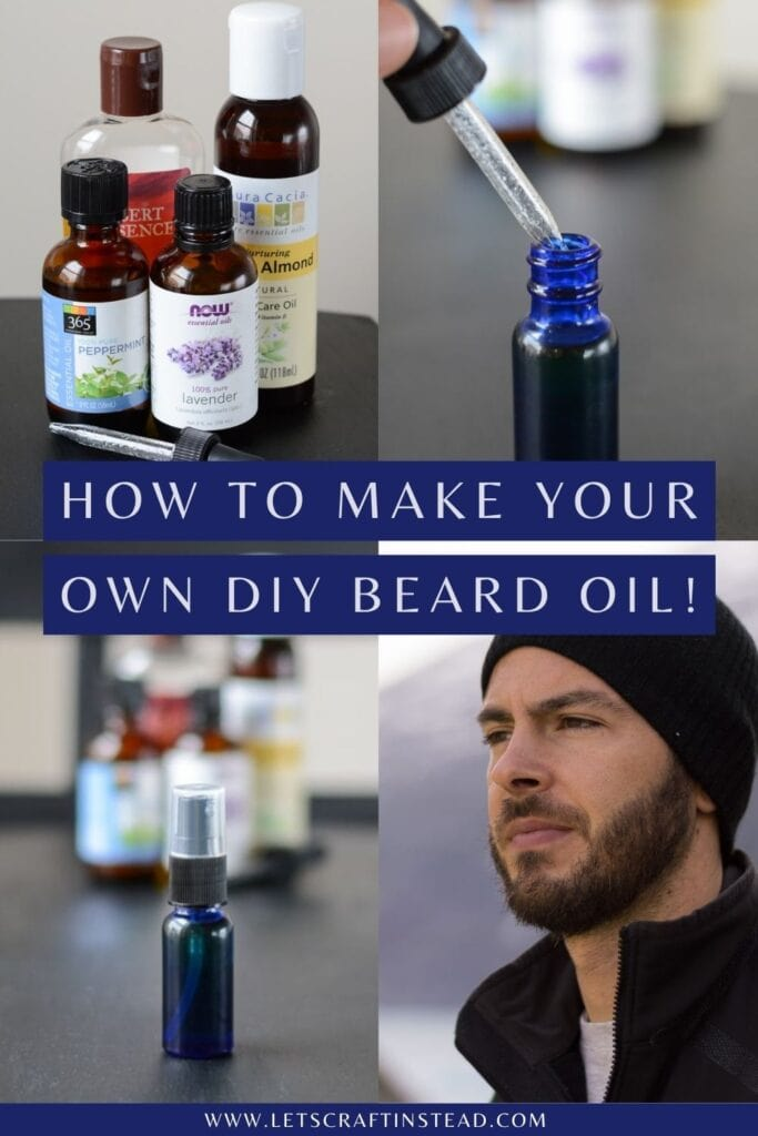 pinnable graphic about the steps for making a homemade beard oil with text overlay