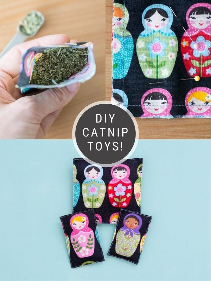 images of DIY catnips toys with text overlay that says DIY catnip toys!