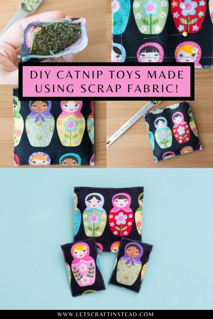 pinnable graphic with images of DIY catnip toys and text about DIY catnip toys made using scrap fabric
