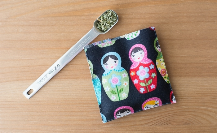 fabric and a spoon with catnip in it