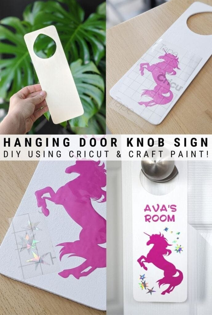 pinnable graphic of a diy door knob hanger for a kids room including text overlay