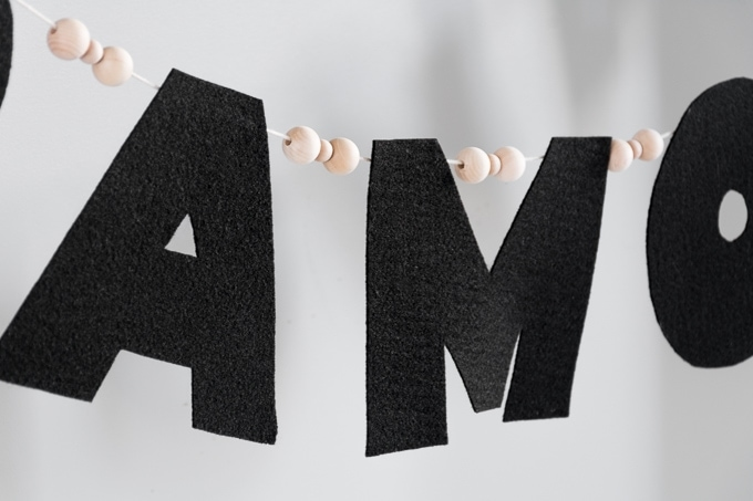 No-Sew Felt Name Garland with wood beads