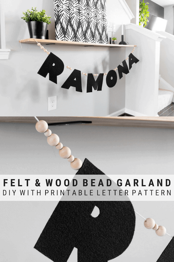 No-Sew Felt Name Garland with wood beads pinnable graphic with images of the garland and text overlay