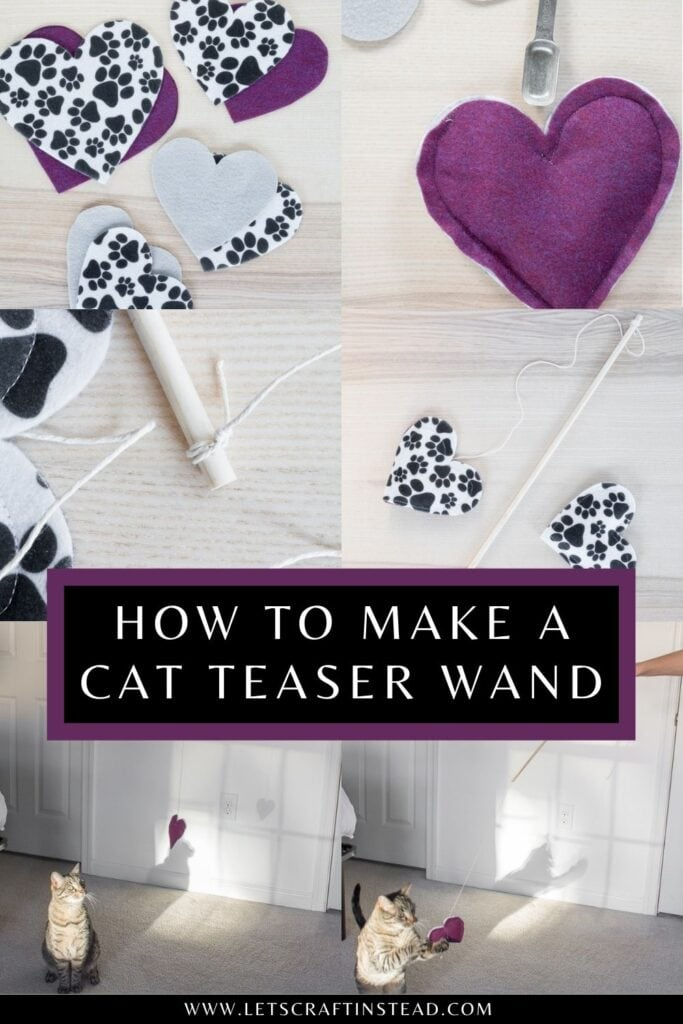 pinnable graphic about how to make a DIY cat teaser toy with photos of the process and text overlay