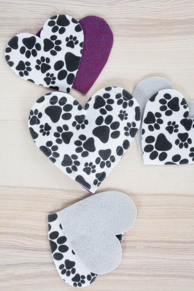 sewing the felt pieces for the cat toy
