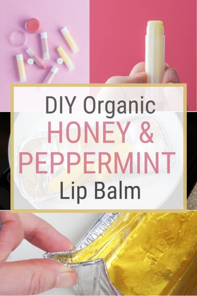 pinnable graphic with image of DIY lip balm and text about how to make it