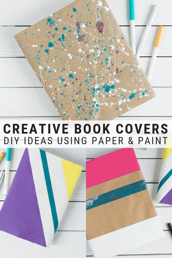 pinnable graphic showing Creative DIY Book Cover Ideas Using Paint including text overlay