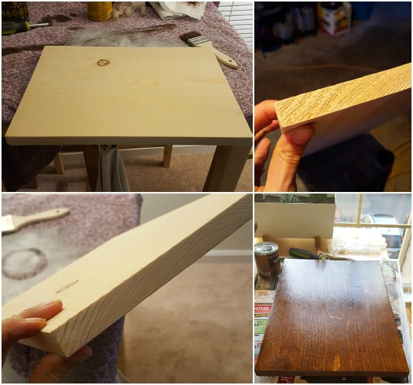 staining and piece of wood