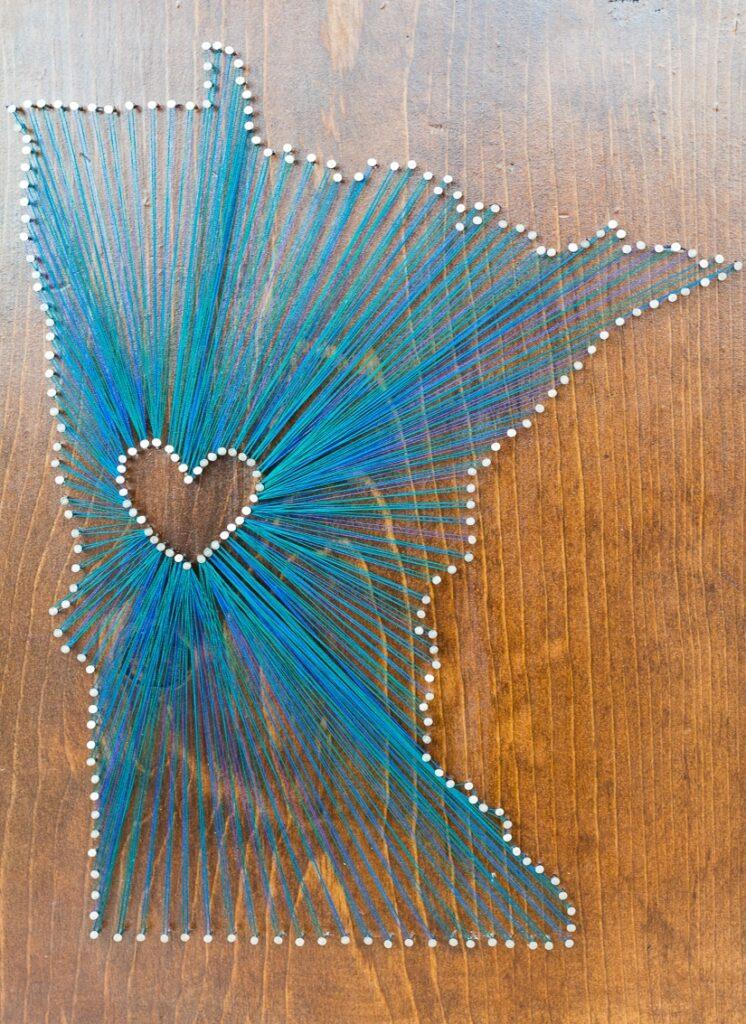 DIY string art of the state of Minnesota