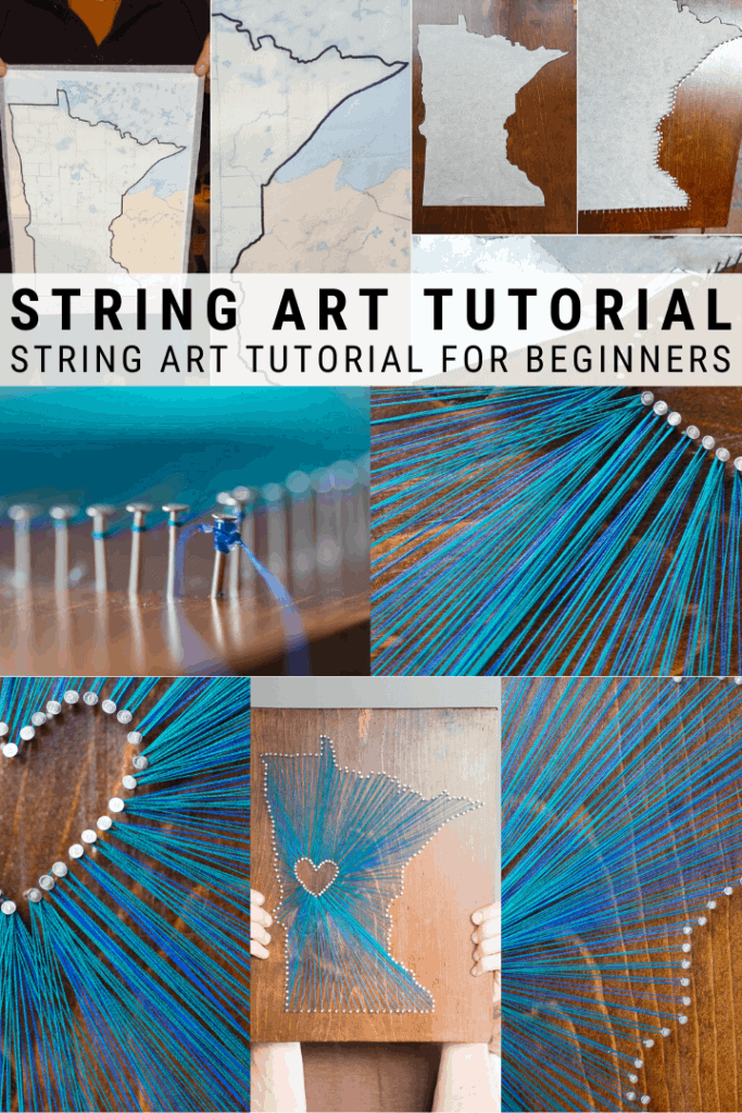 pinnable graphic with text overlay about how to make string art for beginners