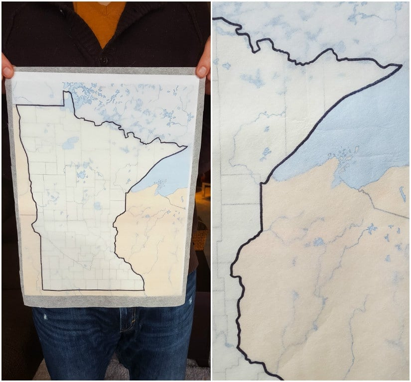 creating an outline of the state of Minnesota on tracing paper