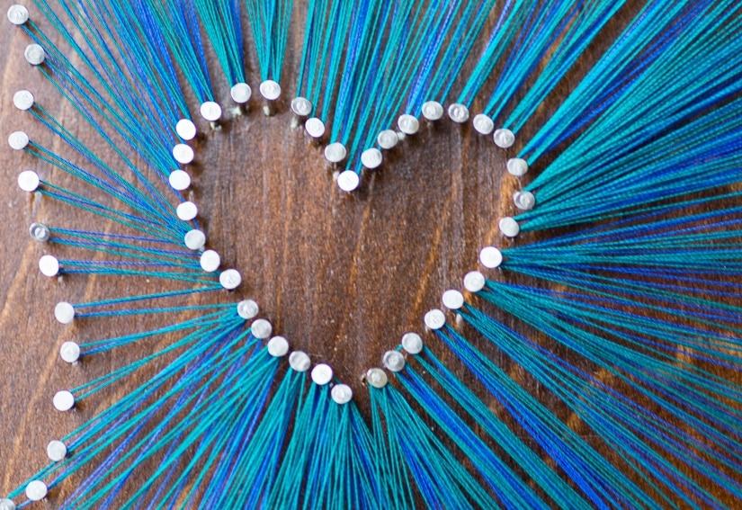 closeup shot of the DIY string art