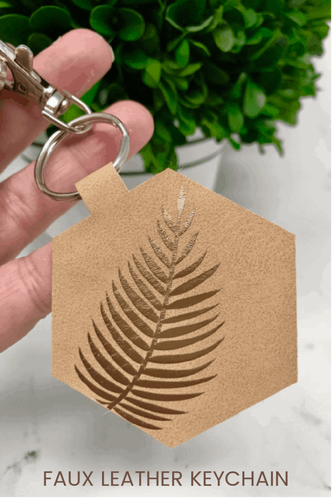 faux leather keychain made using a Cricut