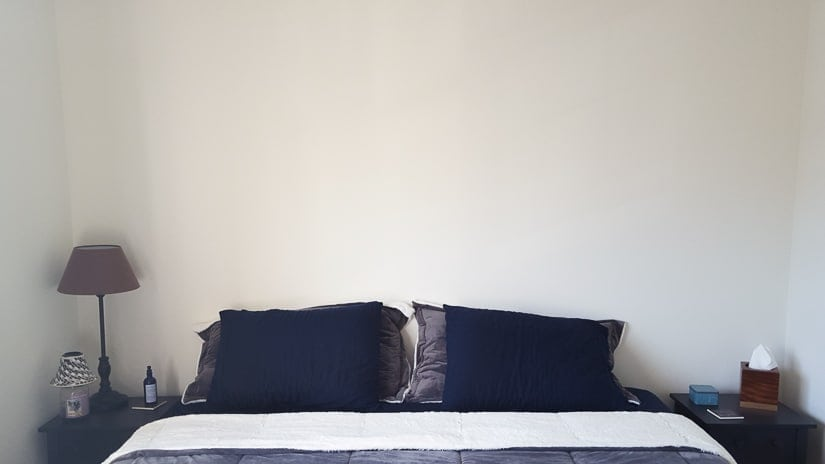 black space above a bed
