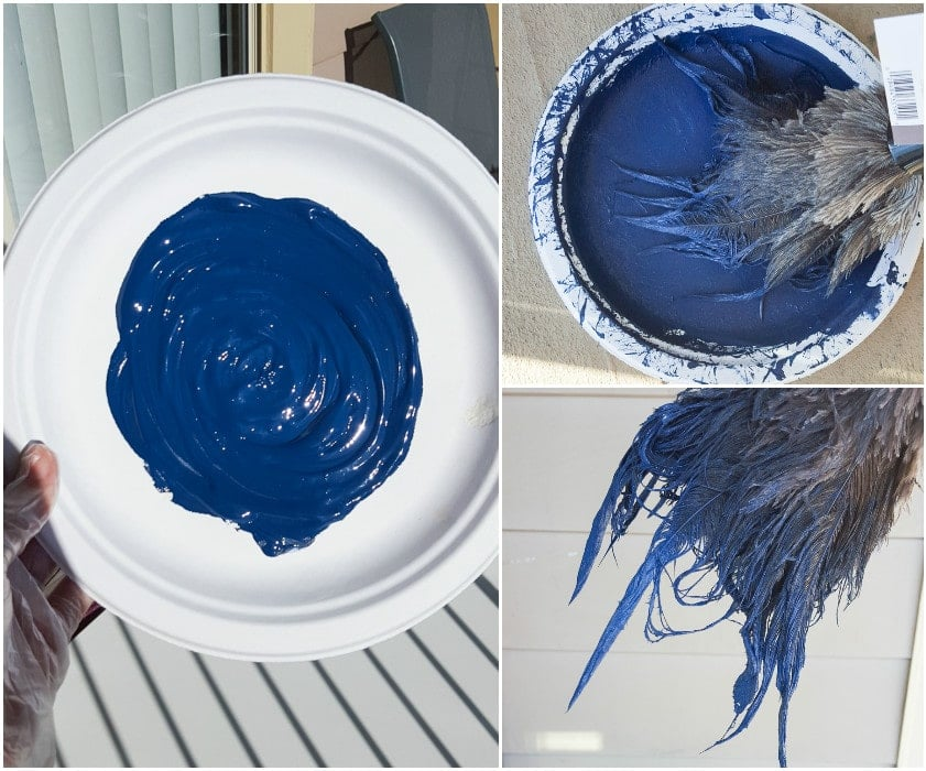 plate with paint on it and feather duster