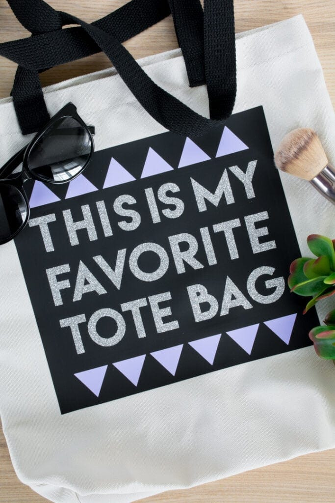 finished layered iron-on vinyl tote bag