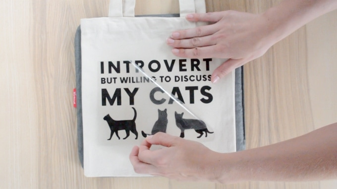 tote bag with a design on it saying introvert but willing to discuss my cats