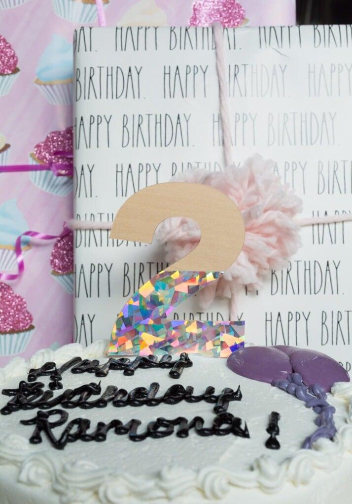 DIY 2nd birthday cake topper made using Cricut