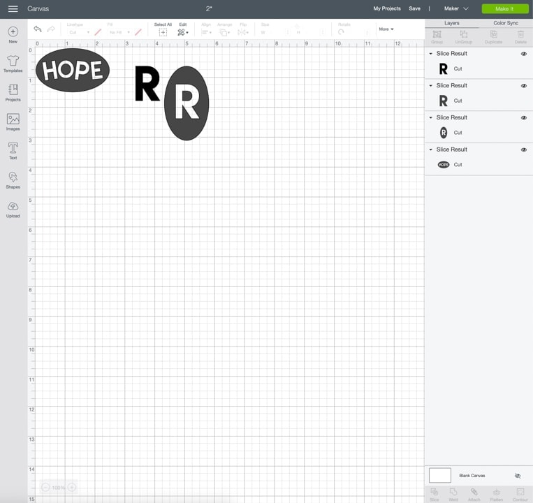 screen caps of Cricut's Design Space to show how to slice text and objects