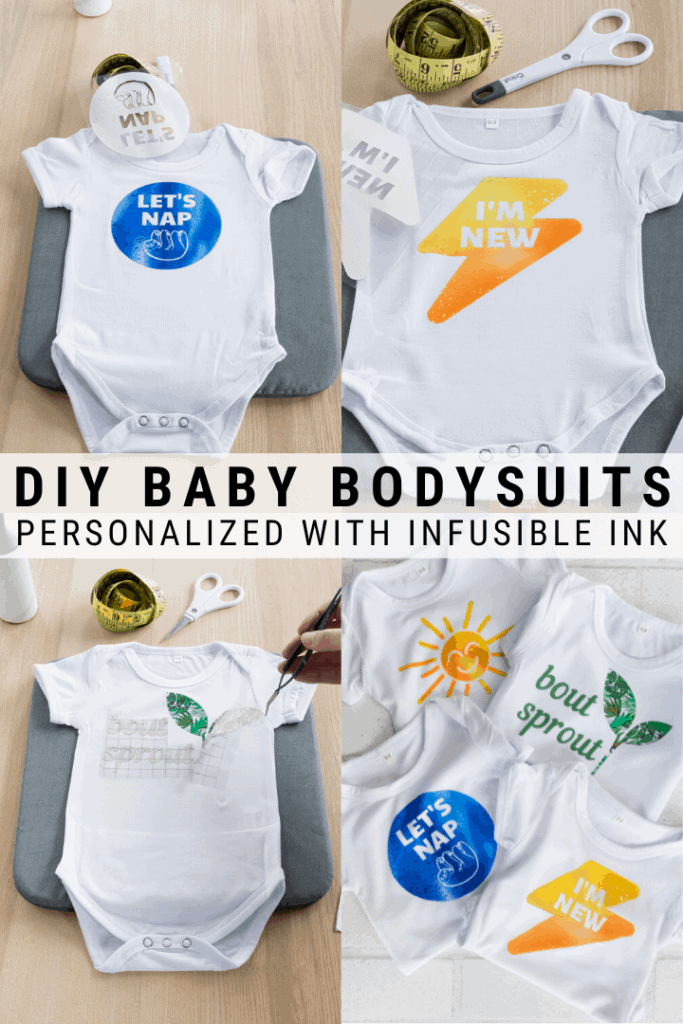 pinnable graphic with images of Cricut Infusible Ink bodysuits and text overlay about how to make them