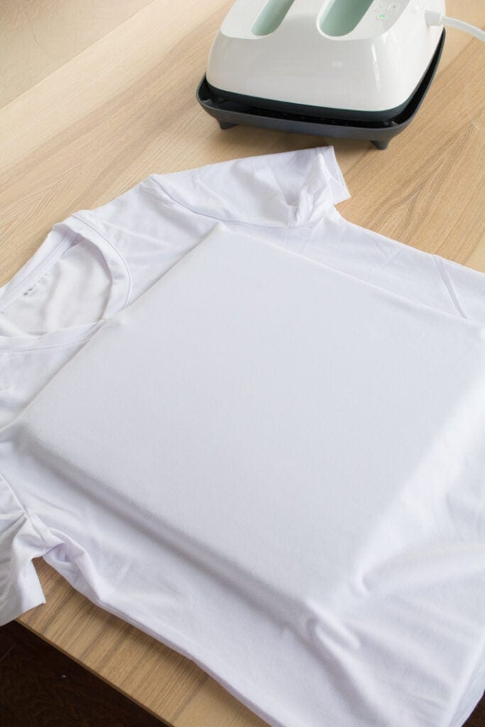 Cricut Infusible Ink t-shirt blank on a table
