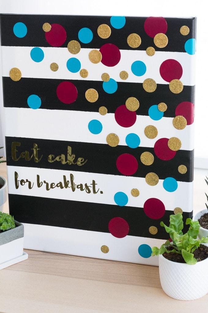 Kate Spade Inspired Decor that says eat cake for breakfast
