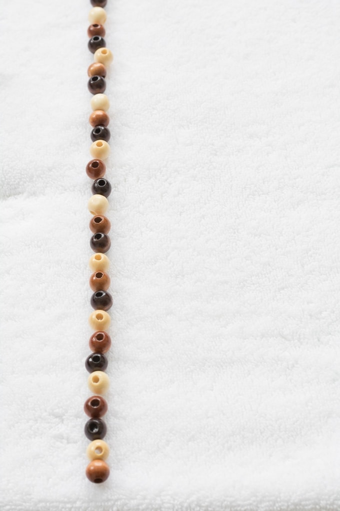 wooden beads on a towel