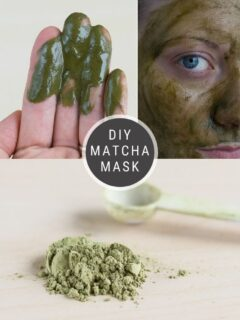 diy matcha face mask pinnable graphic with text overlay