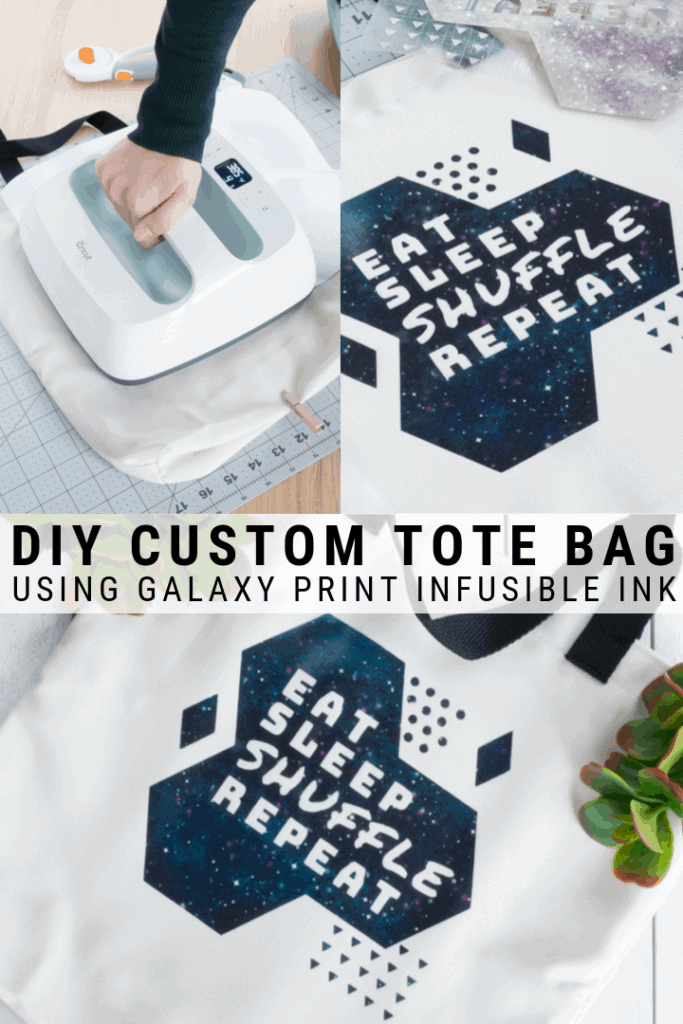 pinnable graphic about how to make a custom tote bag using Cricut's Infusible Ink including text overlay