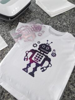 infusible ink transfer of a robot on a toddler shirt