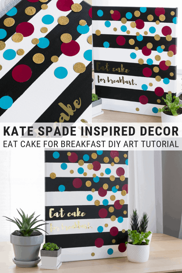 pinnable graphic of a kate spade inspired canvas art piece with text overlay about it