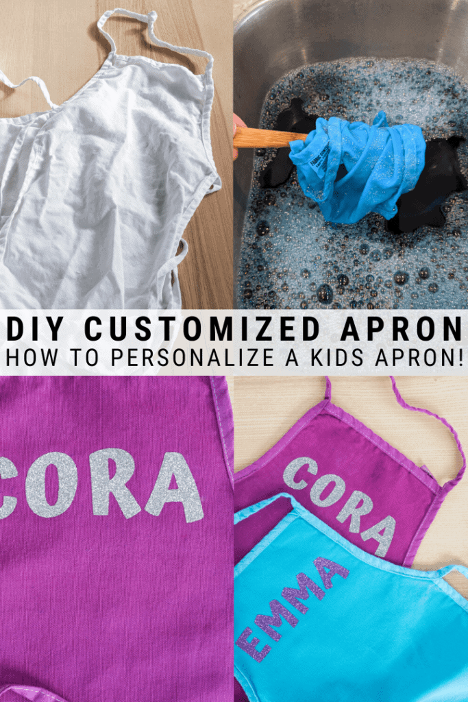 pinnable graphic with images of dyeing kids aprons and text overlay about how to customize a kids apron