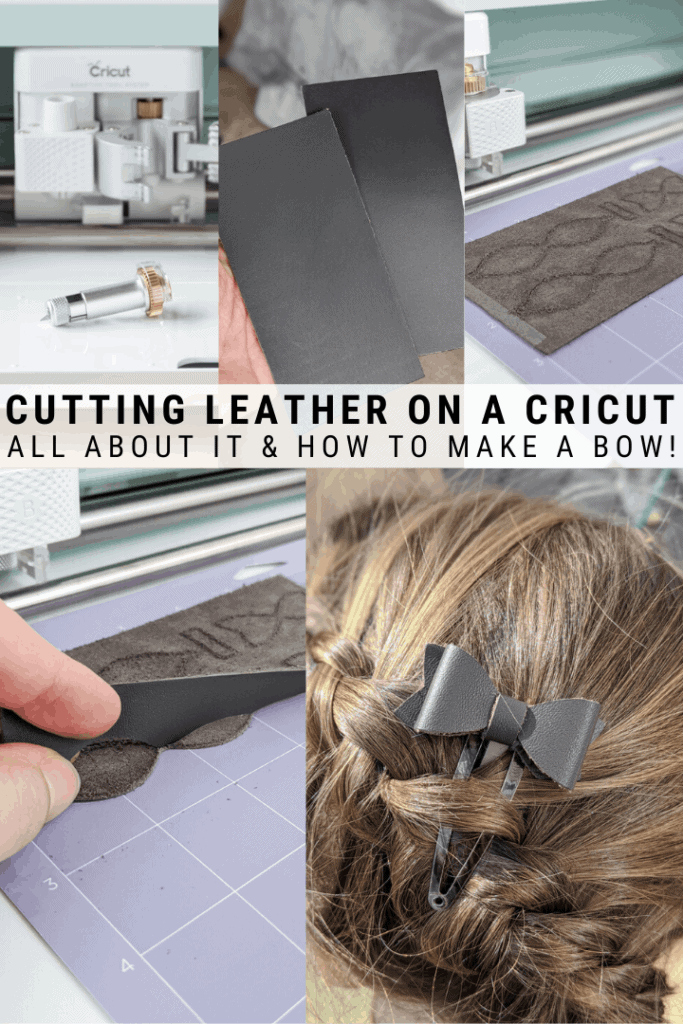 pinnable graphic with images that show the process of cutting leather with the Cricut Maker and text overlay