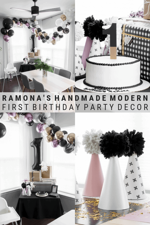 pinnable graphic about a modern stylish first birthday party with images of the party and text overlay