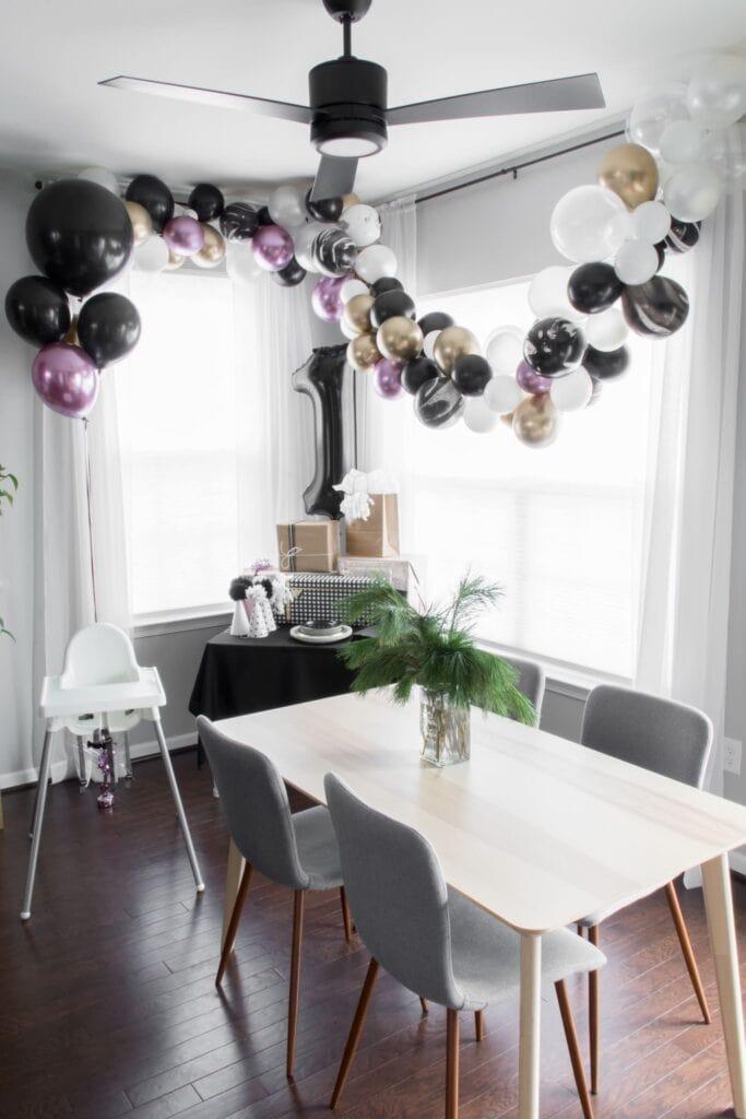 stylish first birthday party decor