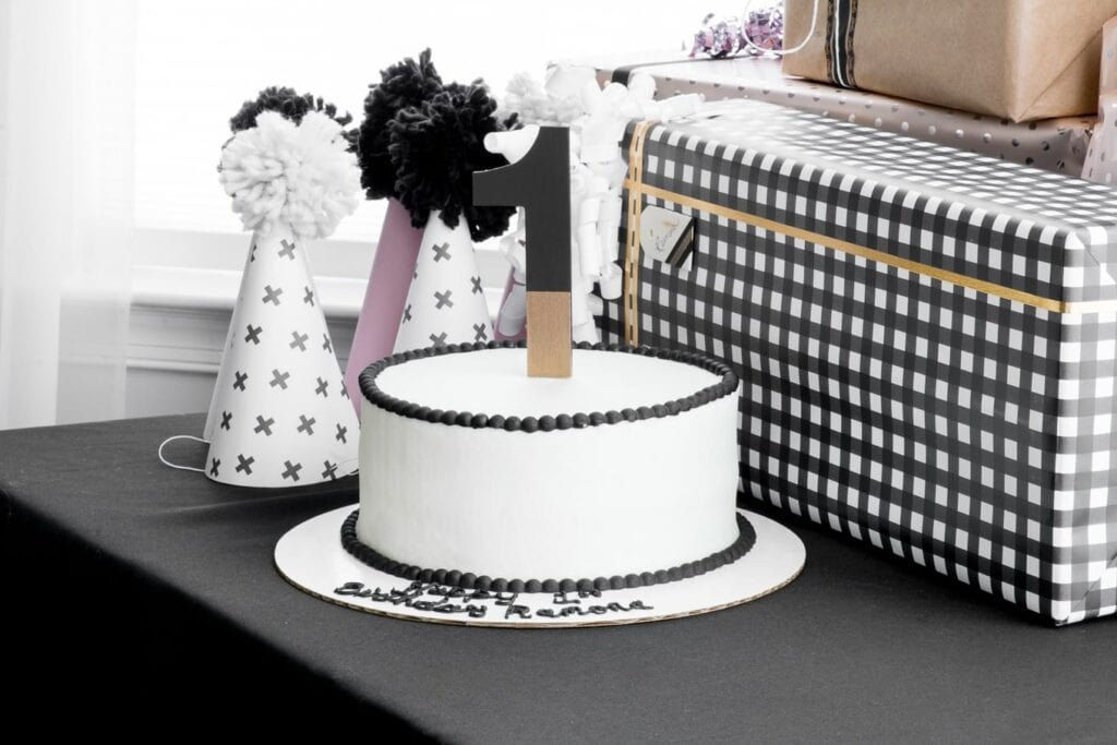 simple DIY Birthday Cake Topper in a black and white cake