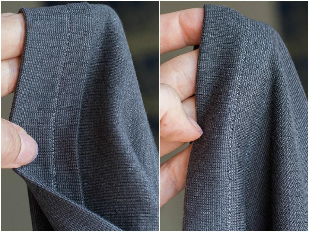 hemming the knit skirt